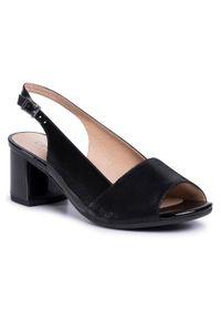 Czarne sandały Caprice na co dzień, casualowe