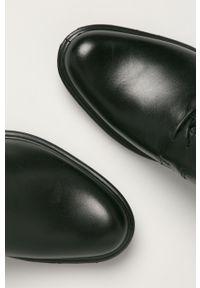 Czarne półbuty Wojas na sznurówki, z cholewką, z okrągłym noskiem
