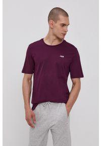 Fila - T-shirt bawełniany. Okazja: na co dzień. Kolor: fioletowy. Materiał: bawełna. Wzór: gładki, aplikacja. Styl: casual