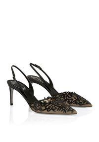 RENE CAOVILLA - Czarne sandały na szpilce Guendy. Zapięcie: pasek. Kolor: czarny. Materiał: zamsz. Wzór: ażurowy. Obcas: na szpilce. Wysokość obcasa: średni