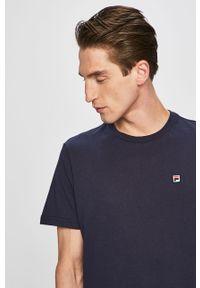 Niebieski t-shirt Fila na co dzień, casualowy, z okrągłym kołnierzem