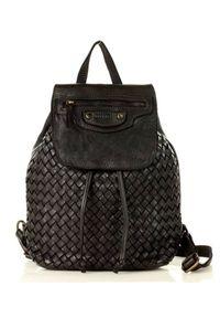 Plecak damski czarny MARCO MAZZINI v99a. Kolor: czarny. Materiał: skóra. Styl: vintage