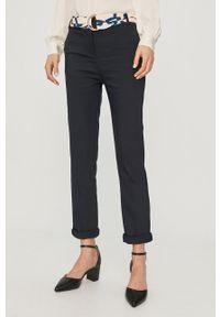 Niebieskie spodnie materiałowe Morgan casualowe, na co dzień, z podwyższonym stanem