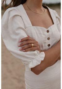 Marsala - Bluzka w stylu boho wykonana z lnu w kolorze ecru - FRESA BY MARSALA. Okazja: na imprezę. Materiał: len. Styl: boho