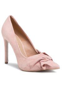 Różowe szpilki Eva Minge na szpilce, z cholewką, eleganckie