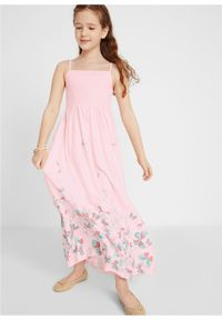 Długa sukienka dziewczęca bonprix bladoróżowy. Kolor: różowy. Długość: maxi #6
