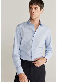 Niebieska koszula Mango Man elegancka, z klasycznym kołnierzykiem, z długim rękawem, długa