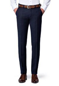 Lancerto - Spodnie Granatowe Flanelowe Diego. Kolor: niebieski. Materiał: wełna, tkanina, elastan. Sezon: jesień, zima. Styl: elegancki, klasyczny, sportowy