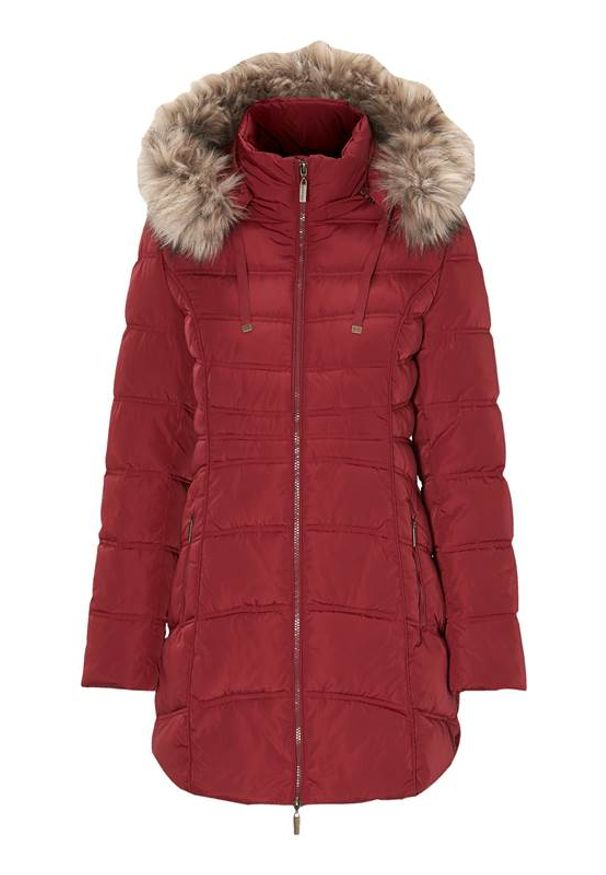 Cellbes Ocieplana parka z odpinanym kapturem burgundowy female czerwony 62/64. Kolor: czerwony. Materiał: futro. Styl: elegancki