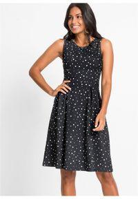Sukienka z dżerseju bonprix czarno-biel wełny w groszki. Kolor: czarny. Materiał: jersey, wełna. Wzór: grochy