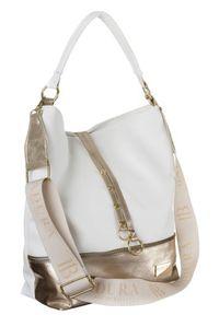 Shopper damski biało-złoty Badura T_D020BI/ZŁ_CD. Kolor: biały, wielokolorowy, złoty. Materiał: skórzane. Styl: elegancki