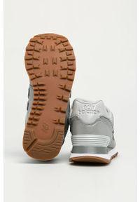 Szare buty sportowe New Balance z okrągłym noskiem, na sznurówki, z cholewką