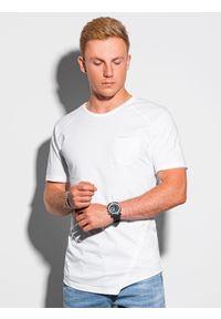 Ombre Clothing - T-shirt męski bawełniany S1384 - biały - XXL. Kolor: biały. Materiał: bawełna. Długość: długie. Styl: sportowy, klasyczny