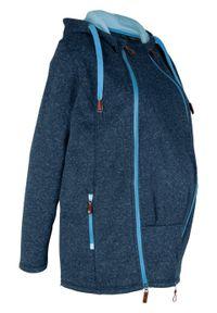 Bluza rozpinana z polaru, ciążowa z wstawką na nosidełko bonprix ciemnoniebiesko-niebieski melanż. Kolekcja: moda ciążowa. Kolor: niebieski. Materiał: polar. Wzór: melanż