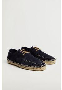 Mango Man - Półbuty zamszowe NAUTIC. Nosek buta: okrągły. Zapięcie: sznurówki. Kolor: niebieski. Materiał: zamsz