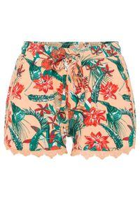 Pomarańczowe spodnie bonprix w kwiaty