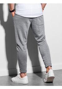 Ombre Clothing - Spodnie męskie dresowe P949 - szary melanż - XXL. Kolor: szary. Materiał: dresówka. Wzór: melanż. Styl: klasyczny