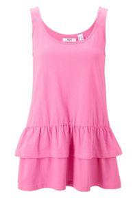 Top bawełniany z falbanami, na szerokich ramiączkach bonprix różowy flaming. Kolor: różowy. Materiał: bawełna. Długość rękawa: na ramiączkach. Sezon: lato