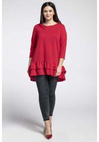 Czerwona bluzka z długim rękawem Nommo z falbankami, plus size