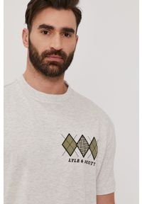 Szary t-shirt Lyle & Scott casualowy, z aplikacjami