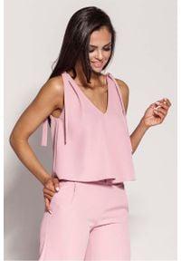 Dursi - Różowa Zwiewna Bluzka-Top Wiązana na Ramionach. Kolor: różowy. Materiał: elastan, poliester