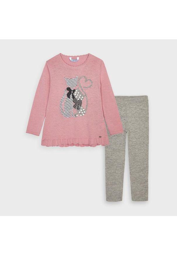 Mayoral Komplet sweter i spodnie materiałowe 4722 Kolorowy Regular Fit. Materiał: materiał. Wzór: kolorowy