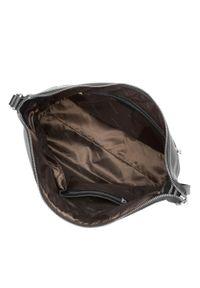 Czarna torebka worek Wittchen z haftem, elegancka, skórzana
