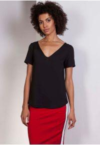 Czarna bluzka Lanti casualowa, na co dzień, z dekoltem w serek