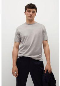 Mango Man - T-shirt bawełniany Bellow. Kolor: szary. Materiał: bawełna. Wzór: gładki