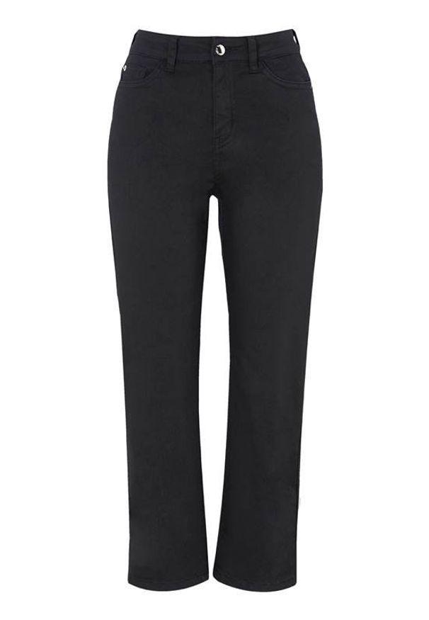 Czarne jeansy Happy Holly z podwyższonym stanem, klasyczne, w kolorowe wzory