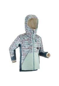 DREAMSCAPE - Kurtka snowboardowa i narciarska SNB JKT 500 dla dzieci. Kolor: zielony. Materiał: polar, materiał. Sezon: zima. Sport: narciarstwo, snowboard