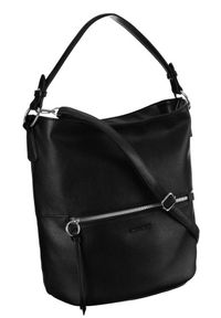 DAVID JONES - Shopper bag czarny David Jones 6518-1 BLACK. Kolor: czarny. Materiał: skórzane
