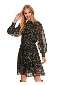 TOP SECRET - Plisowana sukienka z przezroczystymi rękawami. Typ kołnierza: kołnierzyk stójkowy. Kolor: czarny. Materiał: dzianina. Długość rękawa: długi rękaw. Wzór: kwiaty, nadruk. Sezon: zima. Typ sukienki: koszulowe, plisowane