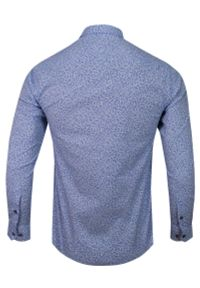 Niebieska elegancka koszula Rigon długa, z długim rękawem