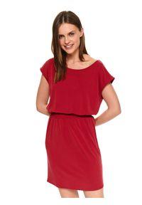 Czerwona sukienka TOP SECRET w kolorowe wzory, casualowa, z krótkim rękawem, na co dzień