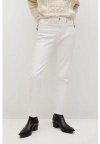 Białe proste jeansy mango gładkie