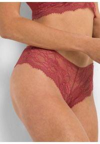 Figi brazylijskie bonprix czerwony. Kolor: różowy. Materiał: koronka