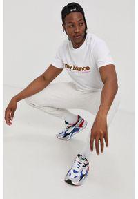 New Balance - T-shirt bawełniany. Okazja: na co dzień. Kolor: biały. Materiał: bawełna. Wzór: nadruk. Styl: casual
