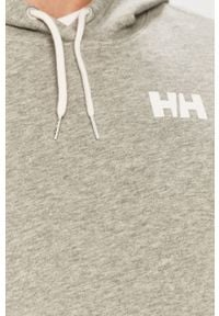 Szara bluza nierozpinana Helly Hansen z kapturem, na co dzień, z nadrukiem, casualowa