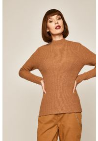 Beżowy sweter medicine na co dzień, casualowy