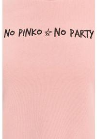 Różowa bluza Pinko z nadrukiem, długa, casualowa