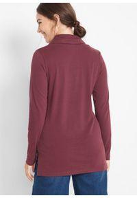 Czerwona bluzka bonprix z golfem, z długim rękawem