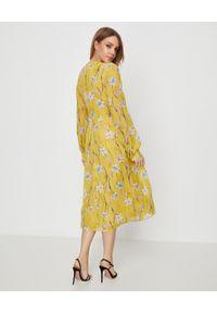 Pinko - PINKO - Żółta sukienka midi w kwiaty Boreo. Kolor: żółty. Długość rękawa: długi rękaw. Wzór: kwiaty. Sezon: wiosna. Typ sukienki: rozkloszowane. Długość: midi