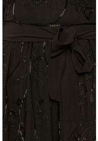 Czarna sukienka TwinSet z długim rękawem, klasyczna, rozkloszowana