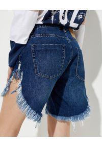 ONETEASPOON - Granatowe szorty jeansowe Frankies Low Waist. Stan: obniżony. Kolor: niebieski. Materiał: jeans. Wzór: paski, aplikacja