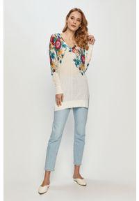 Biały sweter Desigual długi, z długim rękawem