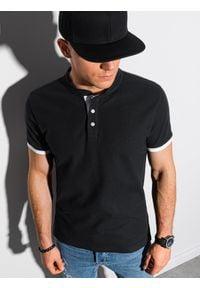 Ombre Clothing - Koszulka męska polo bawełniana S1381 - czarna - XXL. Typ kołnierza: polo. Kolor: czarny. Materiał: bawełna