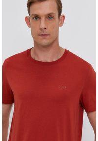 BOSS - Boss - T-shirt bawełniany. Okazja: na co dzień. Kolor: czerwony. Materiał: bawełna. Wzór: gładki. Styl: casual