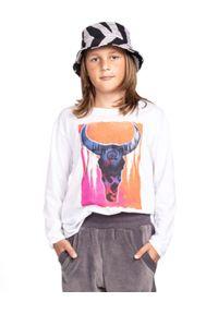 ROBERT KUPISZ - Biały t-shirt Crazy Bull Longsleeve. Kolor: biały. Materiał: bawełna. Długość rękawa: długi rękaw. Długość: długie. Wzór: nadruk, kolorowy