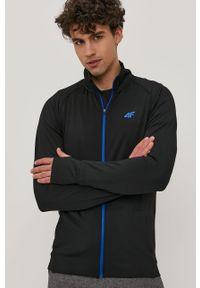 Czarna bluza rozpinana 4f raglanowy rękaw, casualowa, gładkie, bez kaptura